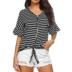 4a2213b8d ... Naggoo Women's Button Down Loose Fit Casual Tops Short Sleeve Tie Front  Knot Striped Blouses Tee Shirts