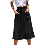a0bf14378 ... Naggoo Womens Casual Front Button A-Line Skirts High Waisted Midi Skirt  with Pockets ...
