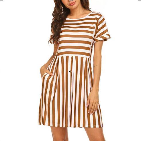 99529a0e8 Naggoo Womens Summer Striped Short Sleeve T-Shirt Dresses Casual Swing  Aline Dresses with Pocket